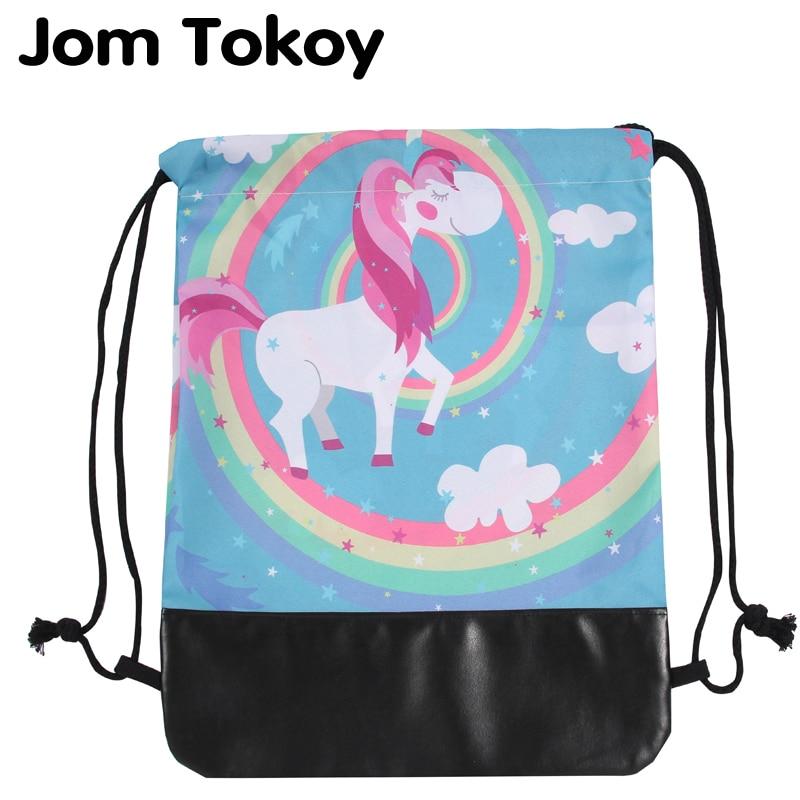 Jom Tokoy New 3d Leather Bottom Drawstring Bags Women Drawstring Backpack Colorful Cartoon Unicorn Mochila Feminina Escolar