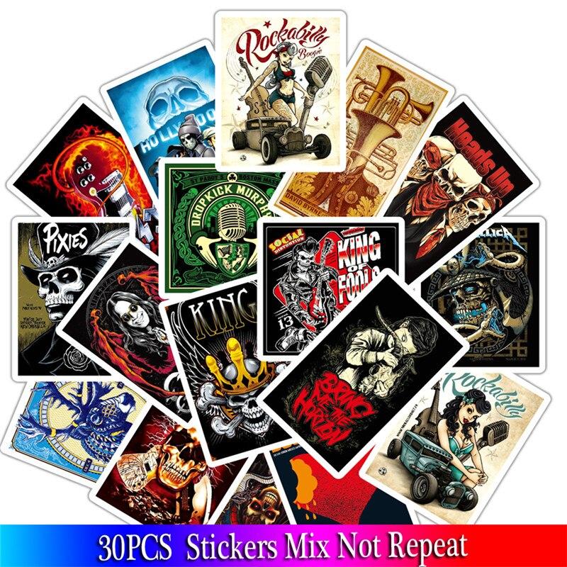 32PCS Mixed Music Rock Skull Sticker Graffiti JDM Stickers To DIY Guitar Motorcycle Laptop Luggage Skateboard Car Snowboard