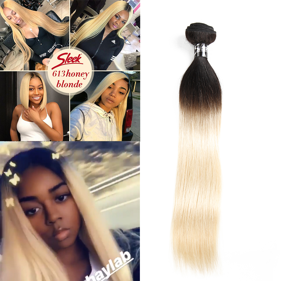 Sleek Remy Human Hair 1 / 3 / 4 Bundles Blonde 613# Brazilian Straight Hair Bundles Ombre 1b/613 Colors Human Hair Weave Bundles