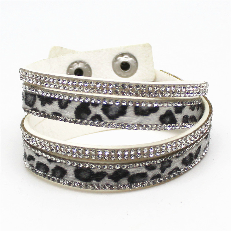 New Arrived Sexy Leopard Bling Rhinestone Double Wrap Bracelet For Women Leather Wrap Bracelet Wristband Crystal Charms Chokers 6