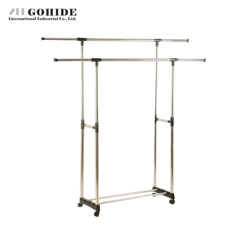 Gohide Indoor Hanger Double-Pole Folding Drying Rack French Lifting Hanger Stainless Steel Wheels Belt Coat Racks Home Furniture