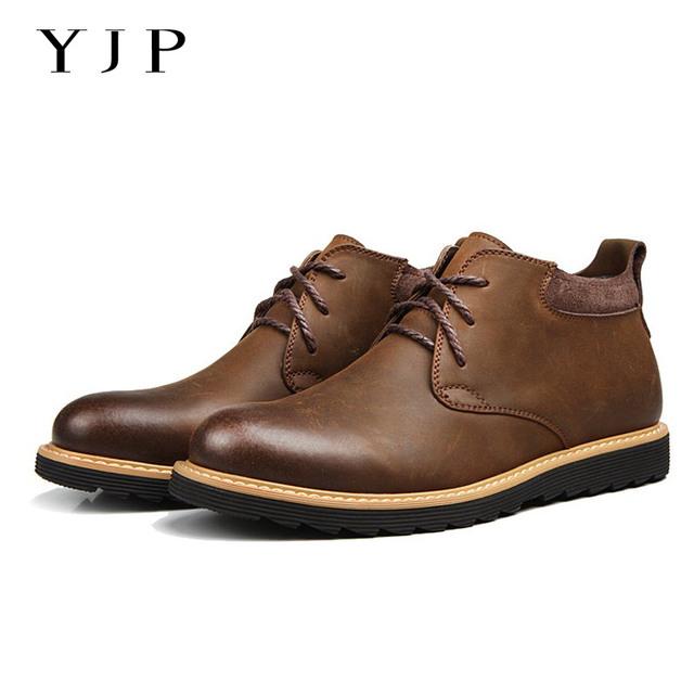 YJP 2017 Recién Llegado de Arranque Del Desierto, negro/Brown Retro Chukker, Enredadera Suela Talón plano con Cordones botas de Trabajo, Zapatos de Moda Casual hombres
