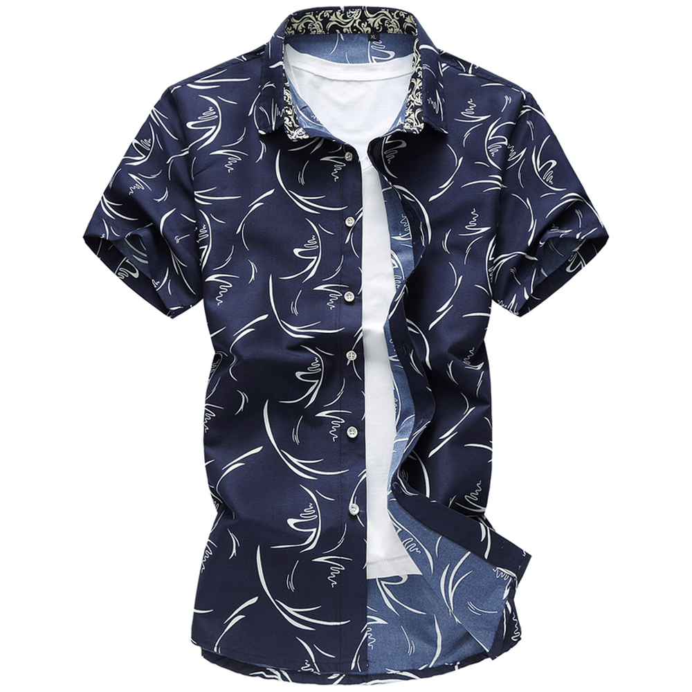M-7XL Floral Print mens Shirts With Short Sleeve Male Brand Casual Male Slim Single Brea ...
