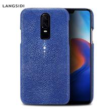 LANGSIDI Genuine Stingray Phone case For Oneplus 6T 5 5T 6 Ultra-thin back cover Hard shell durable oneplus 6t coque