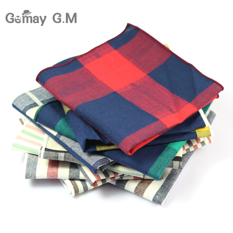 New Arrive  Cotton Suit Pocket Square For Men Towel Square For Wedding Party Fashion Simple Cotton Mens Plaid Handkerchief Towel