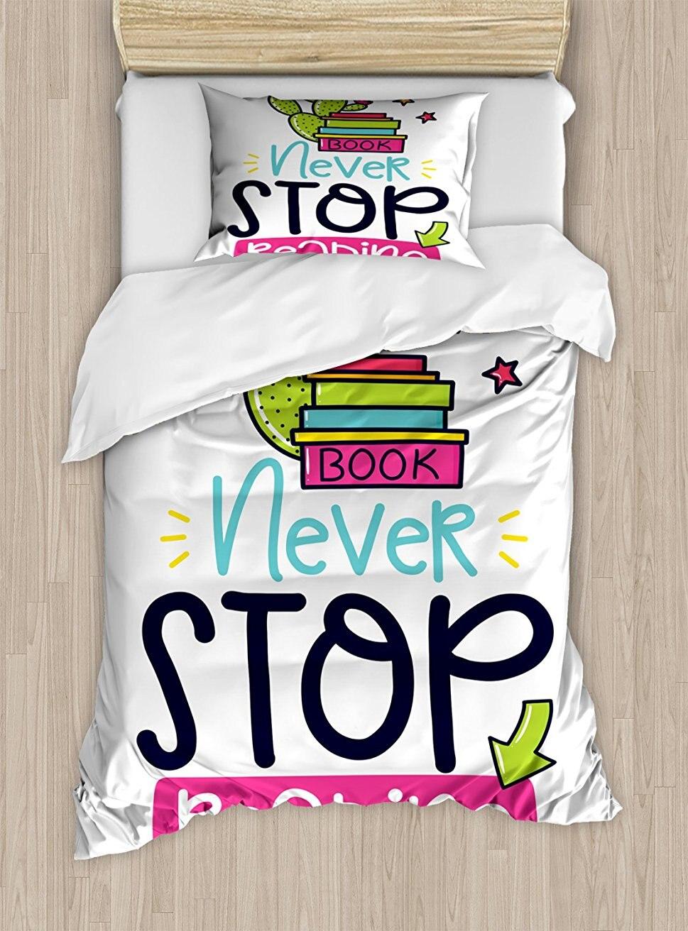 Постельное белье кактус и звезды за книги с вдохновляющие принт никогда не останавливаться чтения 4 шт. Постельное белье
