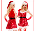 2016 new Women Sexy Red Dresses Halloween Costumes Ladies Christmas Cosplay Night Party Bodycon Hat+Dress+Belt+Gloves+Gift Bag