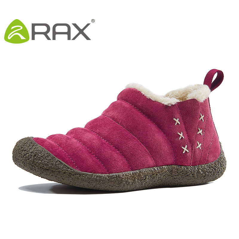 RAX Men Waterproof Hiking Snow Boots Warm Winter Outdoor Boots Pig Leather Breathable Shoes Breathable Walking