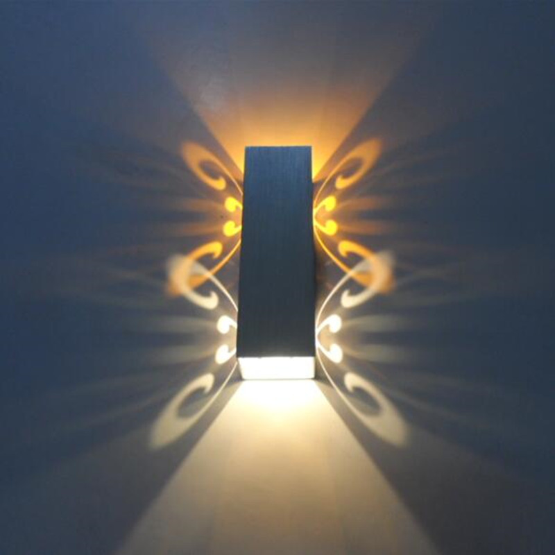 2014 novelty design light led wall lamp 2w for aisle bedroom corridor porchbackground butterfly