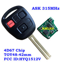 New 3 Buttons Remote Head key Fob For HYQ1512V 4D67/4D68/4C Chip 315Mhz For Lexus GX470 LX4