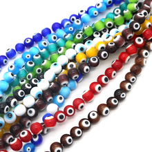 Wholesale 4mm/6mm/8mm Lampwork Glass Murano Handmade Beads Round Eye Spacer Beads 98pcs/45pcs/65pcs Per Lot Jewelry Accessory 5meter lot 6mm plated golden copper enamel glass coin beads rosary chains olive green lampwork flat round beaded chain necklace