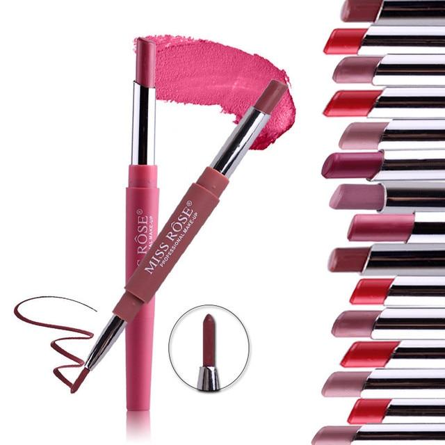 14 Color Double-end Lip Makeup Lipstick Pencil Waterproof Long Lasting Tint Sexy Red Lip Stick Beauty Matte Liner Pen Lipstick 2