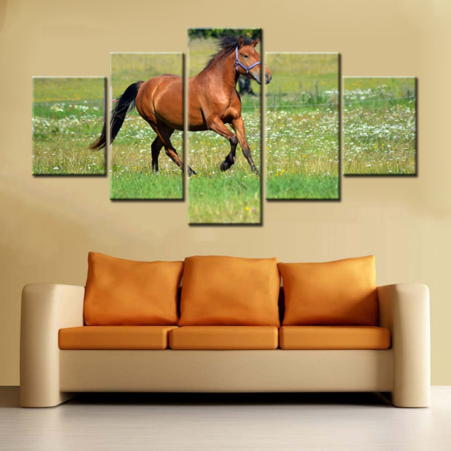 5 piece horse Modern Home Decor Wall Art Pentium Mustang Print ...