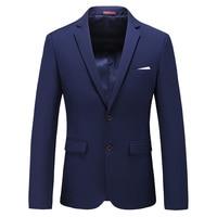 MOGU 2019 New Mens Slim Fit Fashion Cotton Blazer Suit Jacket Navy Blue Plus Size M to 6XL Male Blazers Mens Coat Wedding
