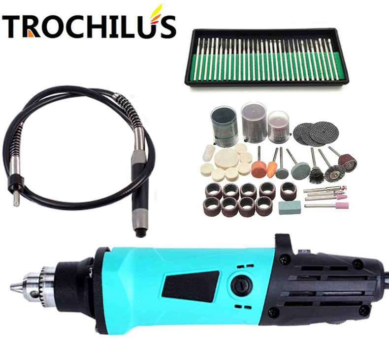 Trochilus electric tools 380W Mini grinder variable speed  dremel rotary tool electric mini drill engraver tool kits 110 230v mini grinder electric dremel drill engraver regulating speed grinding machine for milling polishing dremel accessories