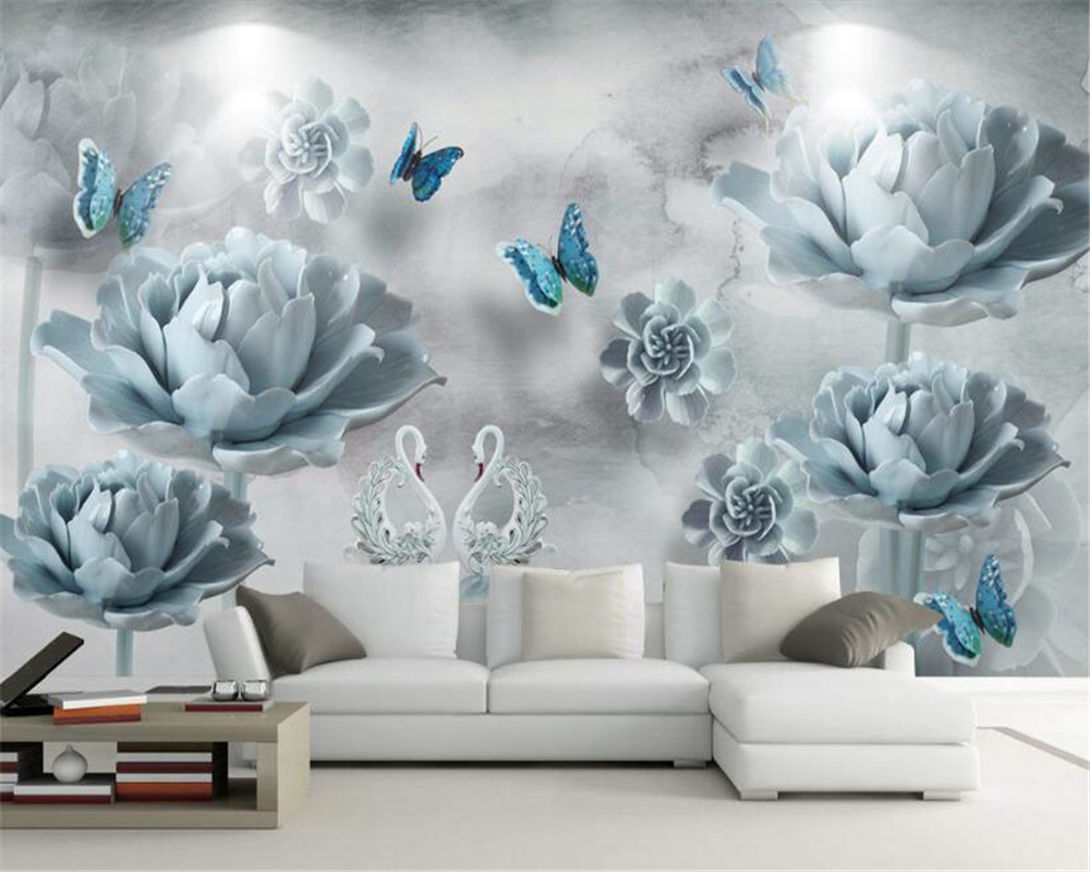 beibehang 2017 new fashion romantic elegant swan lake butterfly embossed flowers 3D background wall papel de parede 3d wallpaper