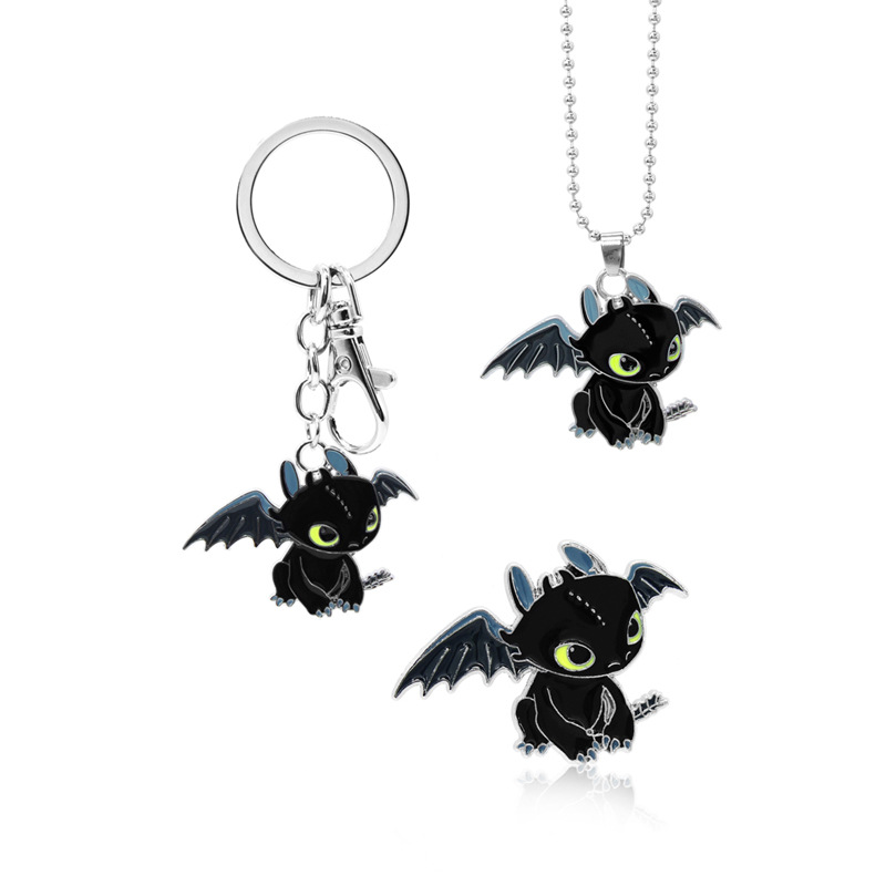 Cartoon Dragon Hiccup Toothless Night Fury Dragon Figures Necklace Keychain Brooch