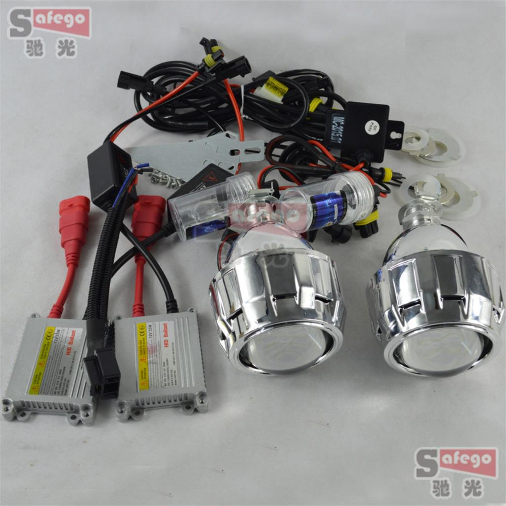 xenon Headlight h7 projector bi xenon lens 2.5 inch with mask shroud bixenon DC ballast h1 xenon lamps 6k for headlamp H1 H7 H4 safego 2 5 inch projector lens mask shroud with double angel eyes for car hid headlight headlamp projector lens for h1 h7 h4