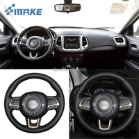 For Jeep Compass 2017 High Quality Hand stitched Anti Slip Black Leather Black Thread DIY Steering Wheel Cover