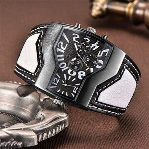 Image 4 - Oulm relógios militares masculinos, relógio de quartzo de couro, homem, dois fusos horários, relógio esportivo, masculino, dropshipping