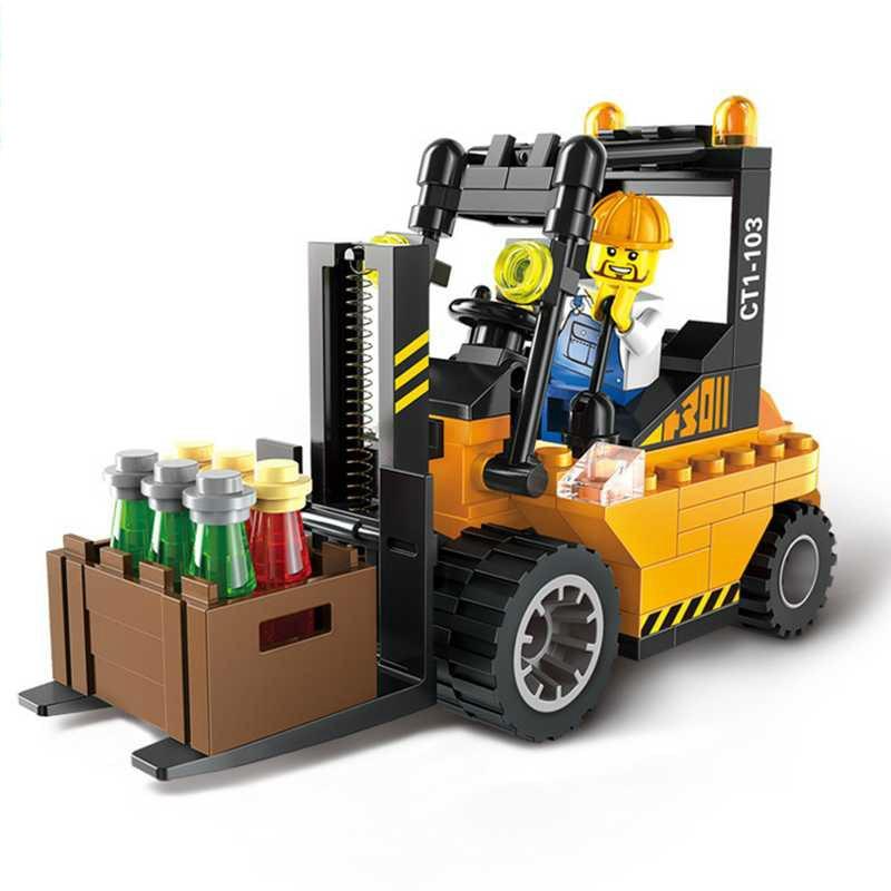 1101-04 Şehir Serisi Süpürgesi Yol Silindiri Forklift Kamyon - Yapı ve İnşaat Oyuncakları - Fotoğraf 3