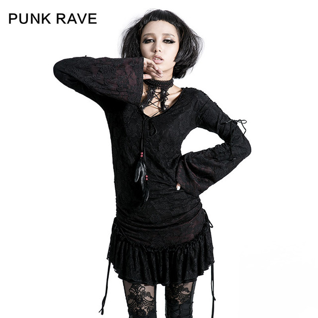 Punk Rave Gothic Lace and Knitting Contrast Color Long T-shirt T-300