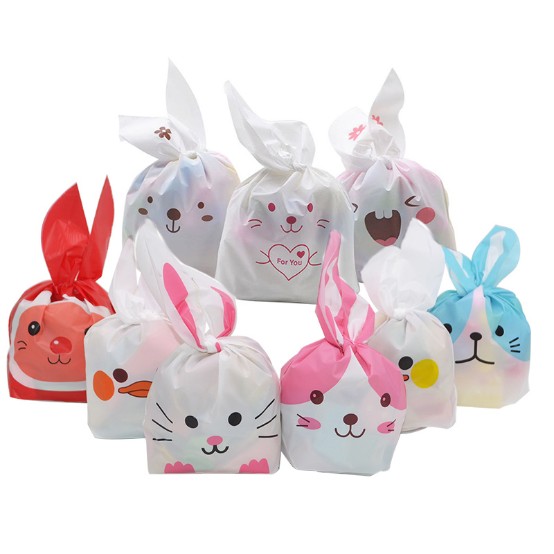 25pcs Cute Bunny Cookies Bags Candy Food Biscuit Packaging Soft Bag Candy Gift Bags Birthday Baby Shower Favors Party Supplies