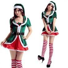 adult women x mas festival green elf costume idea low cut mini temptation dress socks