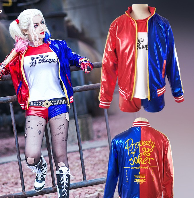 Suicide Squad Harley Quinn Cosplay Costume Halloween Carnival Dress Harley Quinn Jacket Underwear T shirt WIGS HAIR