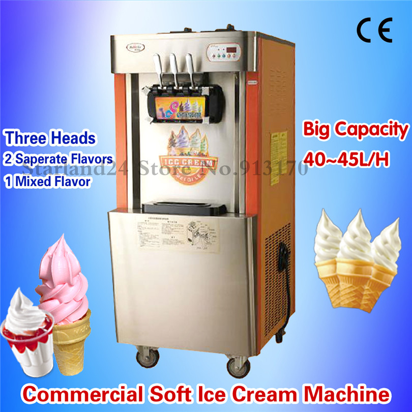 Upright Soft Ice Cream Making Machine Commercial Ice Cream Machine High Capacity 42~45liters/H CE Approval upright dac4813ap dip28