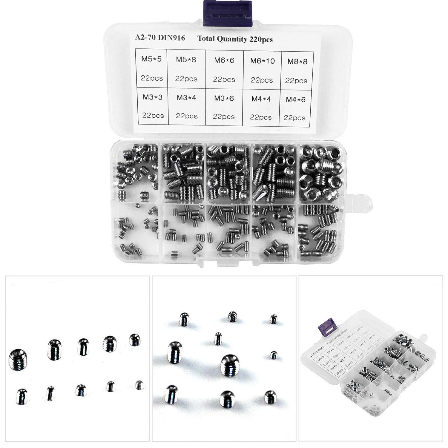 220PCS/Lot M3/M4/M6/M8 Head Socket Hex Grub Screw Assortment Cup Point Set Stainless Steel 3mm/4mm/5mm/6mm/8mm/10mm 10 Sizes 220pcs lot m3 m4 m6 m8 head socket hex grub screw assortment cup point set stainless steel 3mm 4mm 5mm 6mm 8mm 10mm 10 sizes