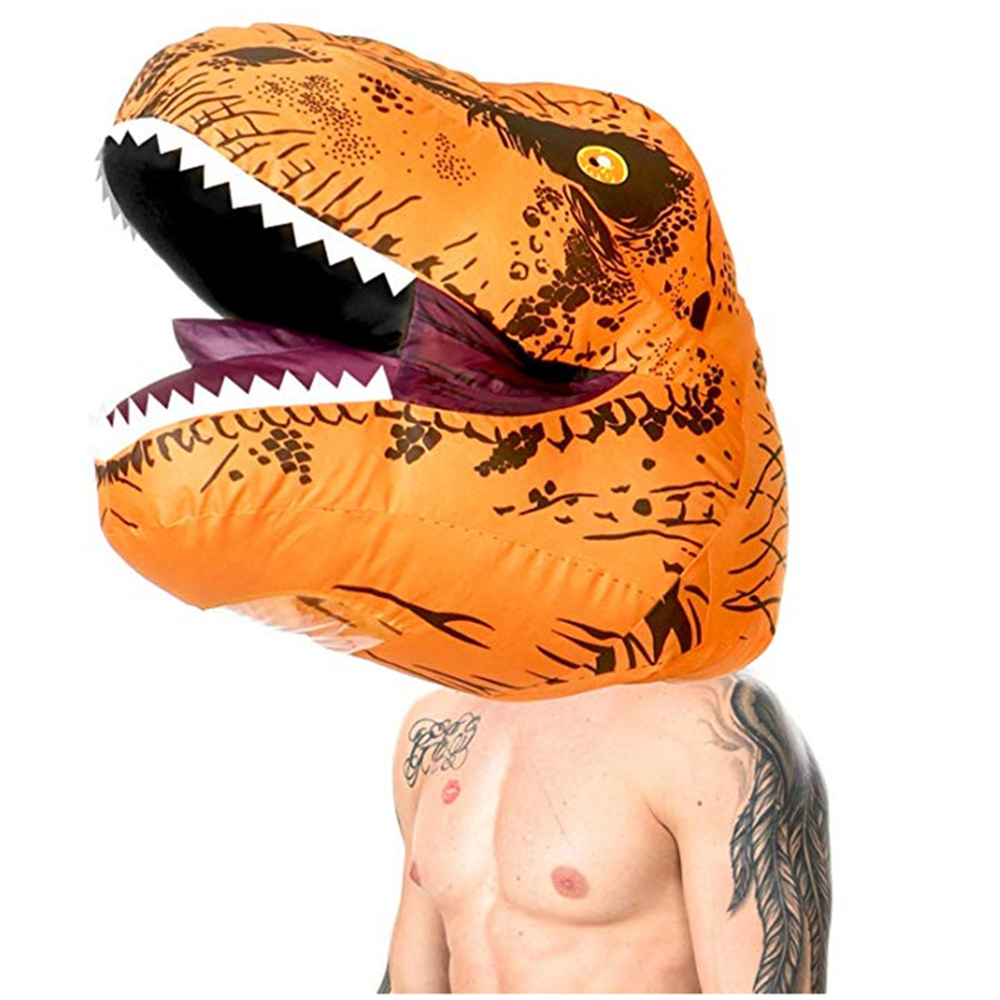 Halloween Christmas Tyrannosaurus Clothing Accessories Hoods Inflatable Masks Cosplay Cartoon Dolls Play Cool Funny Masks