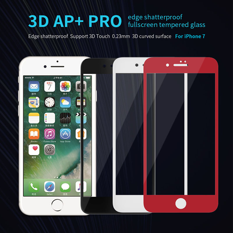 For <font><b>iPhone</b></font> 8 tempered glass NILLKIN 3D AP+ Pro edge shatterproof fullscreen tempered glass For apple <font><b>iphone</b></font> 7 4.7