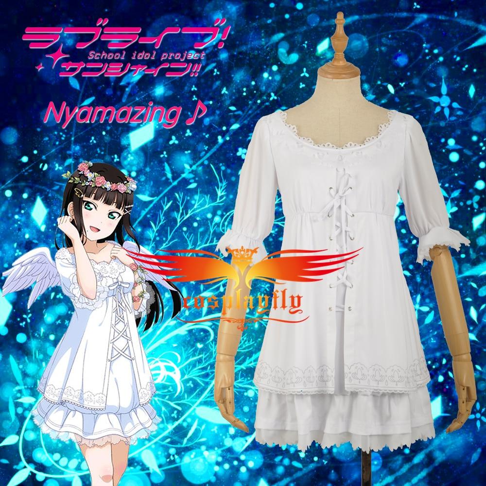 Love Live Kurosawa Dia White Skirt Cosplay Costume Angels Unawakened Women Female O Neck Party Dress Custom Made W1189