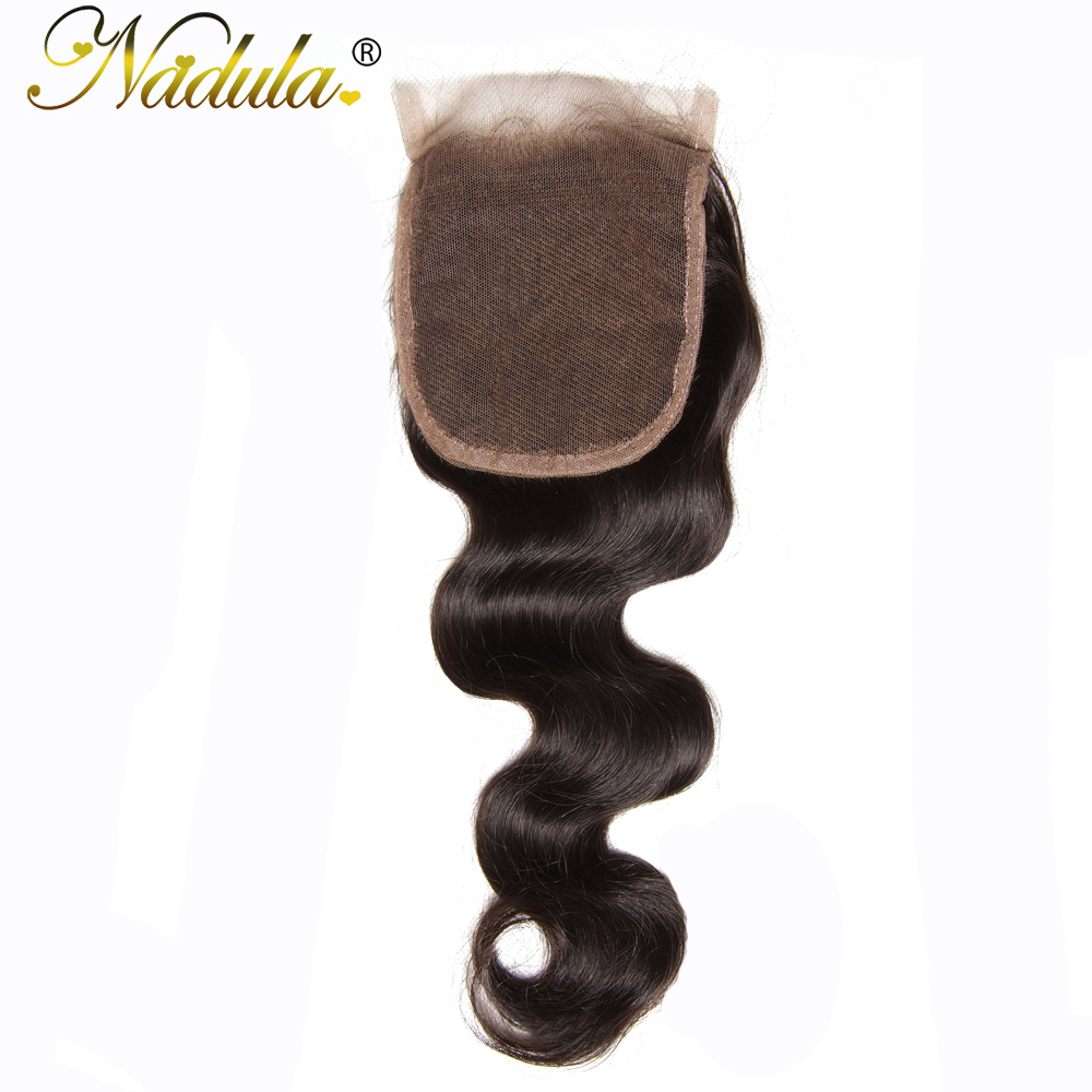 Nadula Hair 10 20inch Brazilian Body Wave Hair Free Part Closure 4 4 Non Remy Human