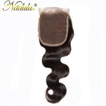 Nadula волос 10-20 дюймов Бразильский объемной волны волос Бесплатная Часть Закрытие 4*4 номера для человеческих волос швейцарский закрытия шнурка 120% плотность