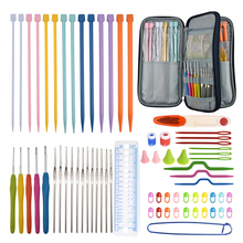 17pcs 0.6-4.5mm Crochet Hooks Set 7 Pairs Knitting Needles Scissors Rulers Sewing Tools Accessories Sets With Case