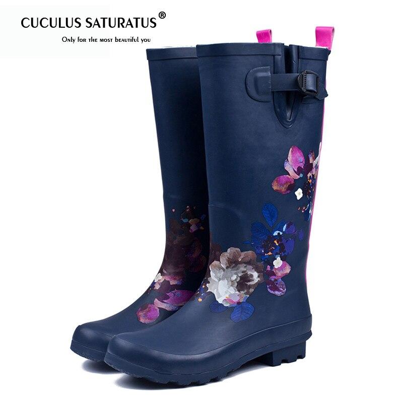 Cuculus Women Pvc Prince Waterproof High Heel Water Shoes Tall Rain Boots Ankle Rain boots Female