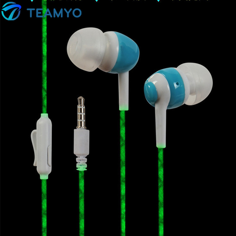 2016 glow in the dark earphones luminous good bass headset flash glowing earb. Black Bedroom Furniture Sets. Home Design Ideas