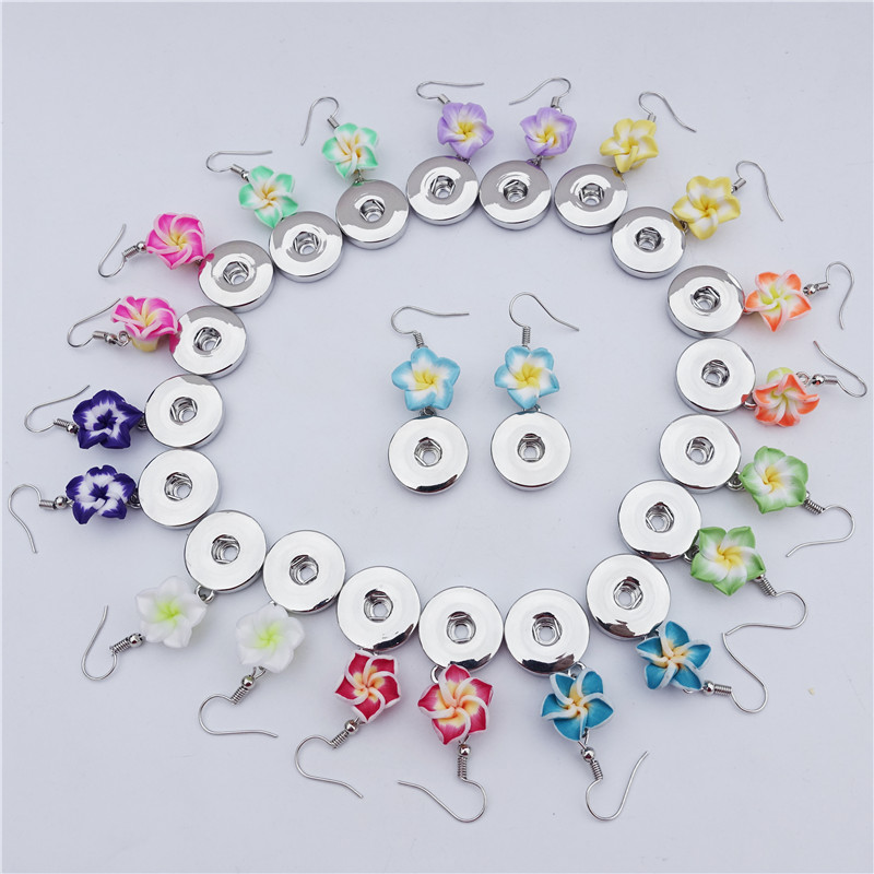 12 Pairs Polymer Clay Earrings 18mm Snap Buttons Fimo Hawaiian Plumeria Flower Bridal Bridesmaid Women's Jewelry Hawaii Vacation