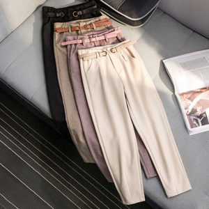 Image 1 - Korean Winter Wool Pants women New High Slim Waist Belted Harem Elegant Trousers Female Autumn Warm Womens Long Pants F201
