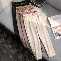 Korean Winter Wool Pants women New High Slim Waist Belted Harem Elegant Trousers Female Autumn Warm Women's Long Pants F201