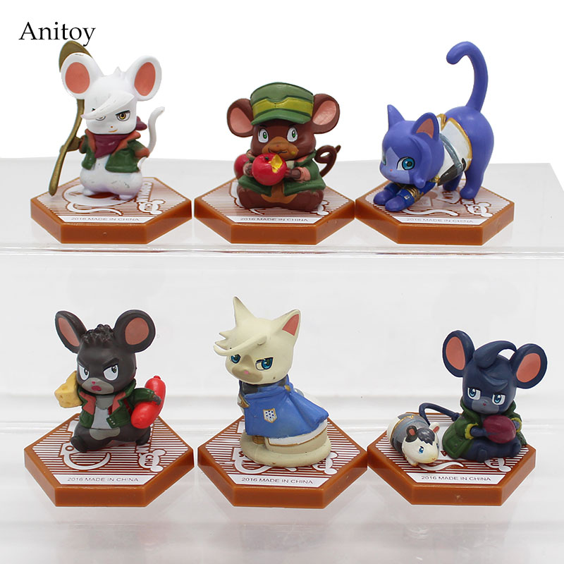 6pcs/set Iron-Blooded Orphans Mobile Suit Gundam Cat & Mouse PVC Figure Collectible Toy 5cm KT4108