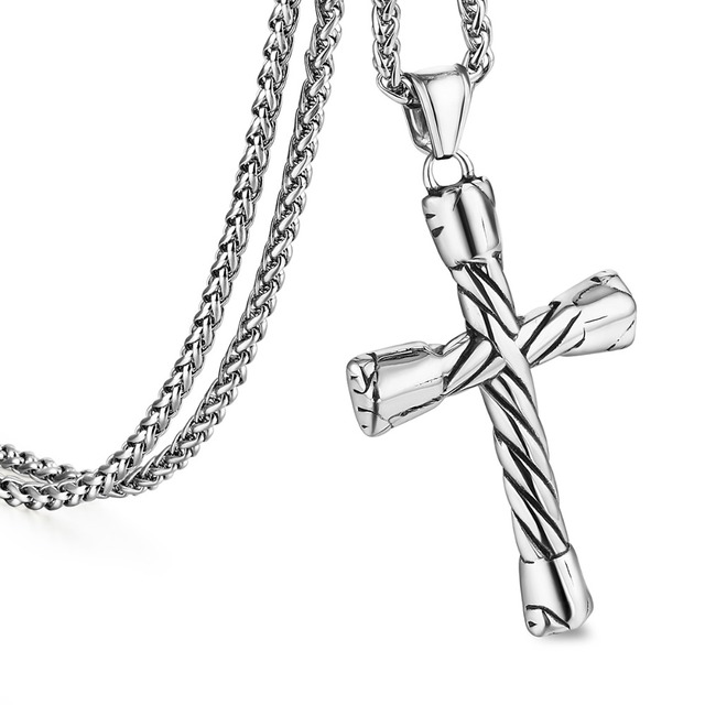 Trendy Mens Stainless Steel Link Chain Necklaces Silver Color Prayer Twist Crucifix Cross Pendant Jewelry Boys Gifts 22″ MN88