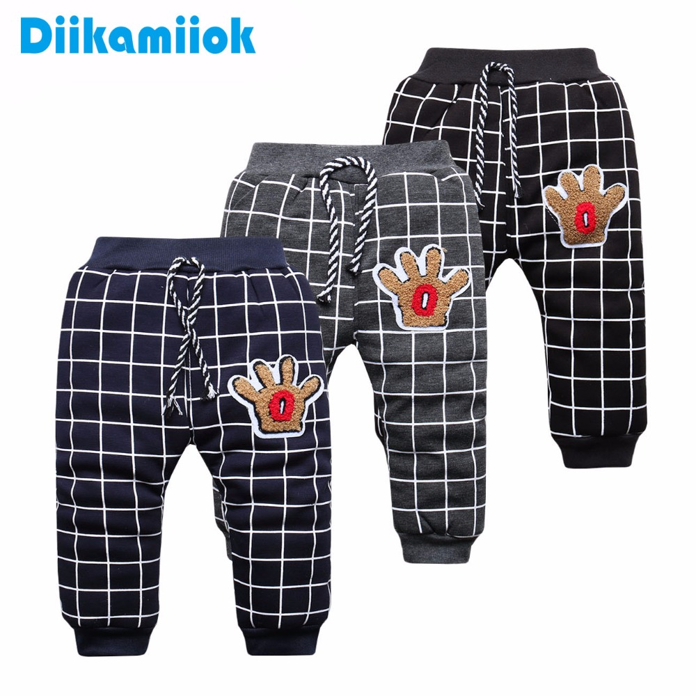 Sale 4-6 Month Newborn Baby Pants For Kids plaid style thermal Trousers Baby Boys Girls Winter plus thickening Pant for Children