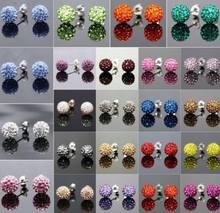 Brincos de contas de cristal de aço inoxidável, 20 par/lote 10mm, esfera de discoteca, miçangas, branco, multicolor, y3433