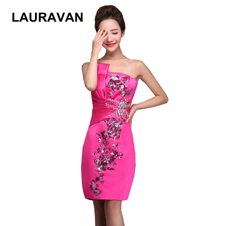 Latest Formal Hot Pink Blue Red Cocktail Short Beaded Sequin Dinner Occasion Dresses Sheath Strapless Dress For Party Women