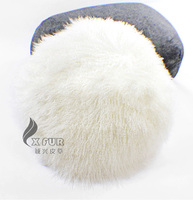 Free Shipping CX D 76 Circle Custom Made Mongolia Lamb Fur Cushion Cover
