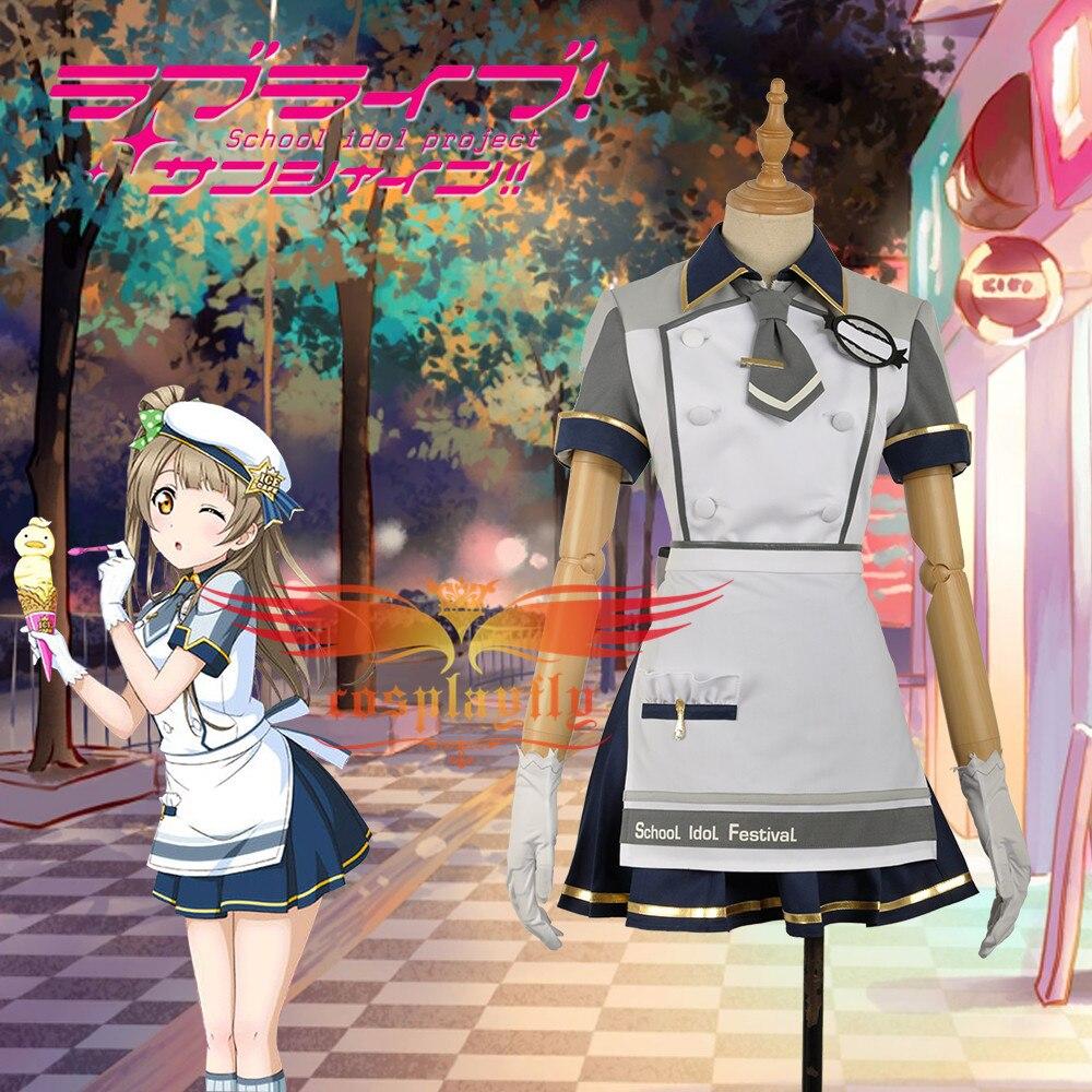 Minami Kotori Love Live!Unawakened Ice Cream White Cosplay Costume Adult Women Skirt Apron Maid Short Sleeve Dress with Hat