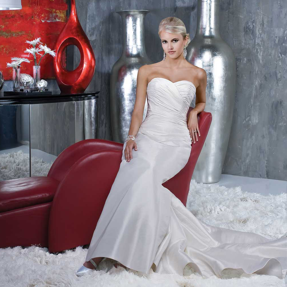 Satin Mermaid Wedding Gown: 2016 Simple Satin Pleated Wedding Dress Mermaid Bridal